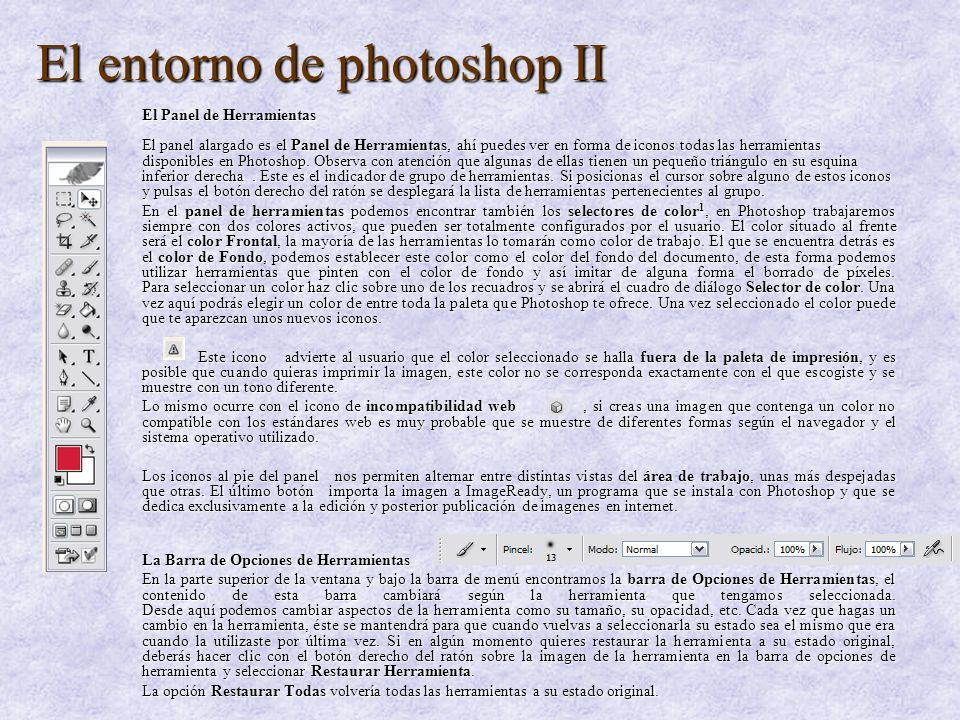 El entorno de photoshop II