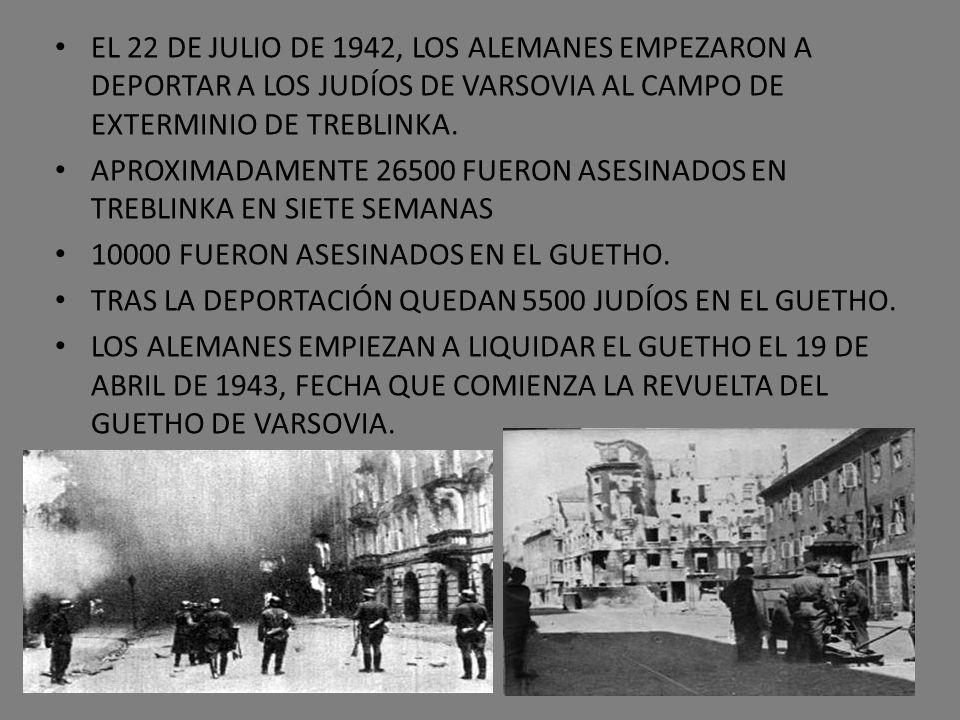 EL 22 DE JULIO DE 1942, LOS ALEMANES EMPEZARON A DEPORTAR A LOS JUDÍOS DE VARSOVIA AL CAMPO DE EXTERMINIO DE TREBLINKA.