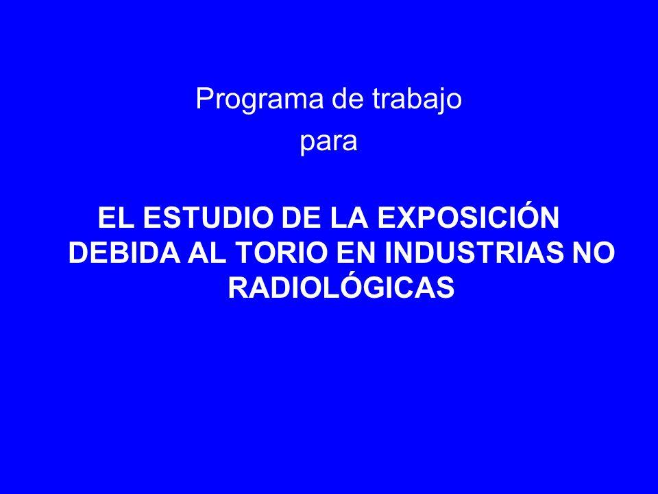 Programa de trabajo para EL ESTUDIO DE LA EXPOSICIÓN DEBIDA AL TORIO EN INDUSTRIAS NO RADIOLÓGICAS