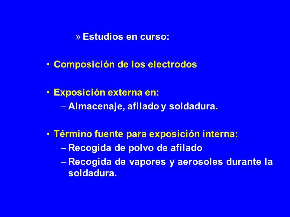 Estudios en curso: Composición de los electrodos. Exposición externa en: Almacenaje, afilado y soldadura.