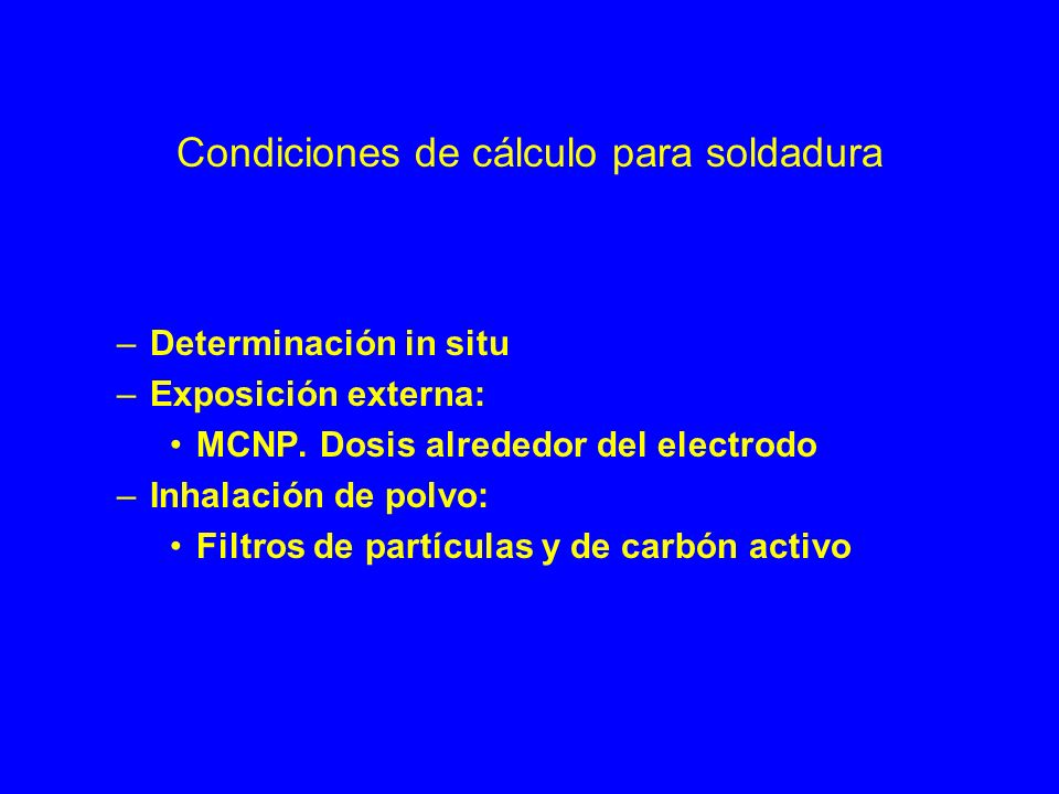 Condiciones de cálculo para soldadura