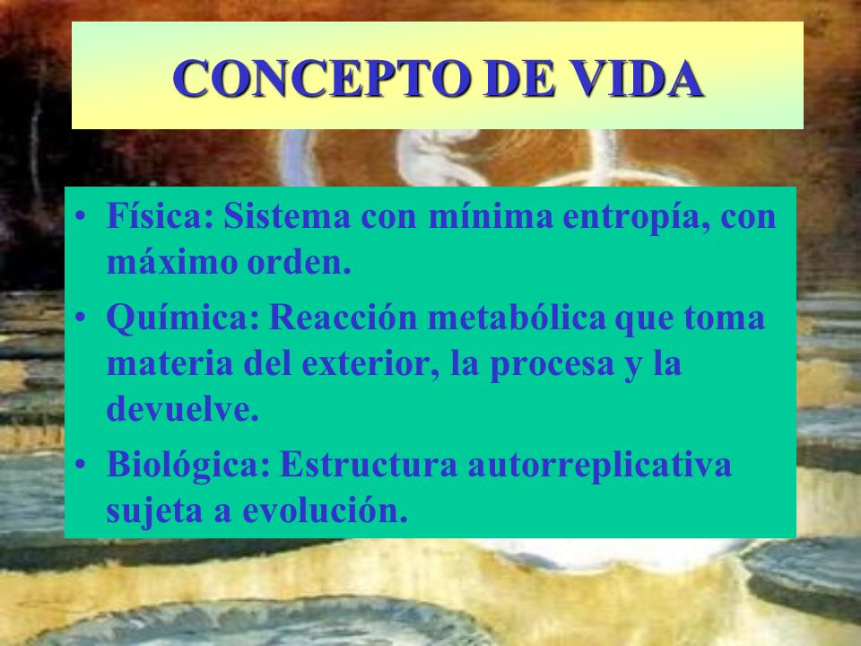 CONCEPTO DE VIDAFísica: Sistema con mínima entropía, con máximo orden.
