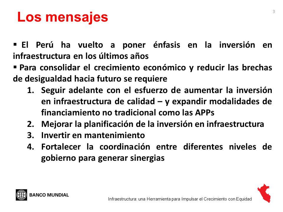 Los mensajes El Perú ha vuelto a poner énfasis en la inversión en infraestructura en los últimos años.