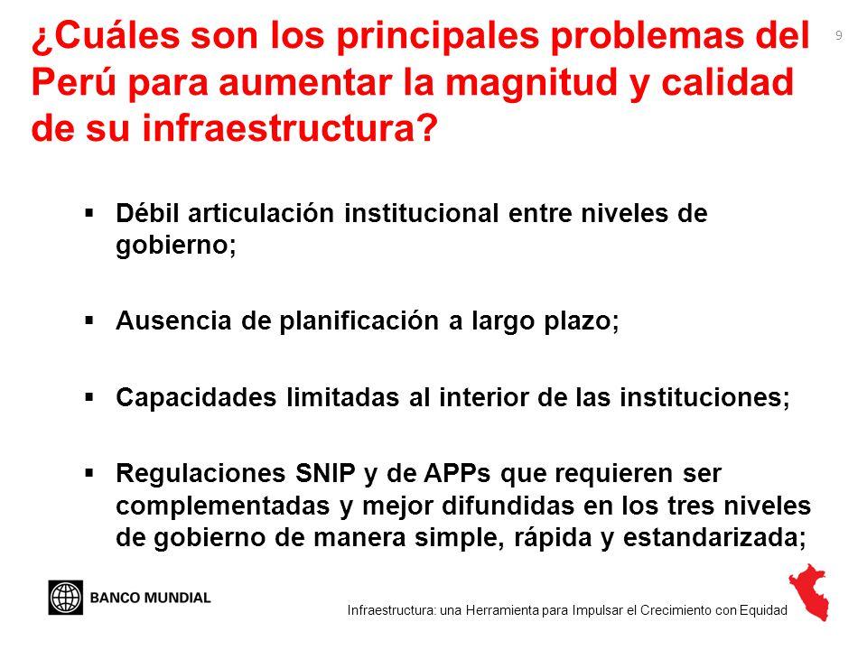 ¿Cuáles son los principales problemas del Perú para aumentar la magnitud y calidad de su infraestructura