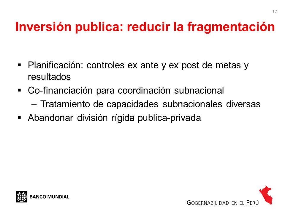 Inversión publica: reducir la fragmentación