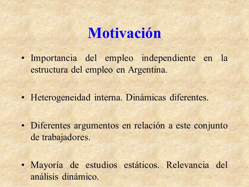 Motivación Importancia del empleo independiente en la estructura del empleo en Argentina. Heterogeneidad interna. Dinámicas diferentes.