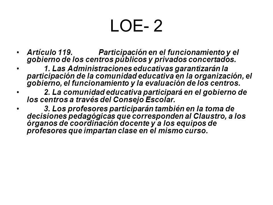 LOE- 2 Artículo 119. Participación en el funcionamiento y el gobierno de los centros públicos y privados concertados.