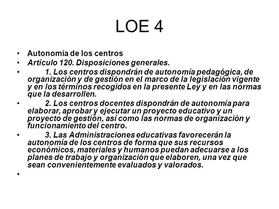 LOE 4 Autonomía de los centros Artículo 120. Disposiciones generales.