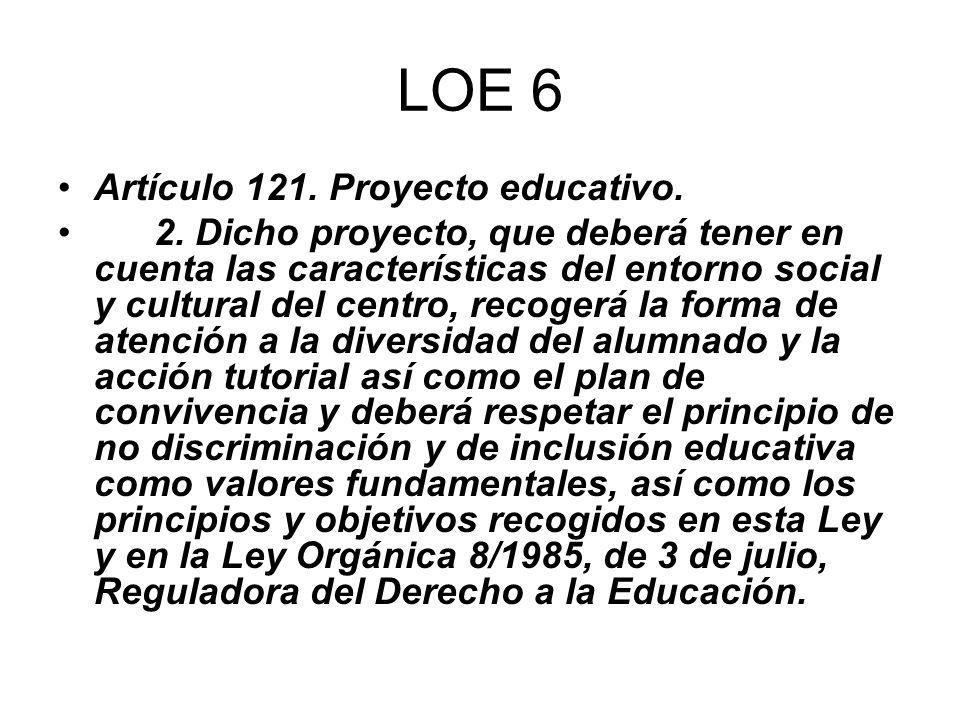 LOE 6 Artículo 121. Proyecto educativo.