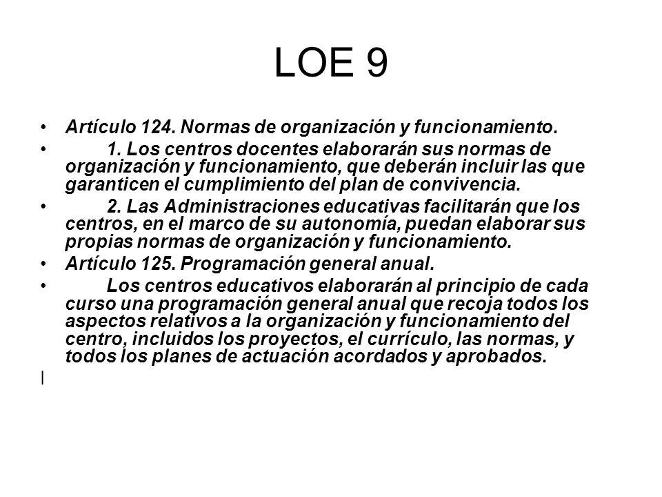 LOE 9 Artículo 124. Normas de organización y funcionamiento.