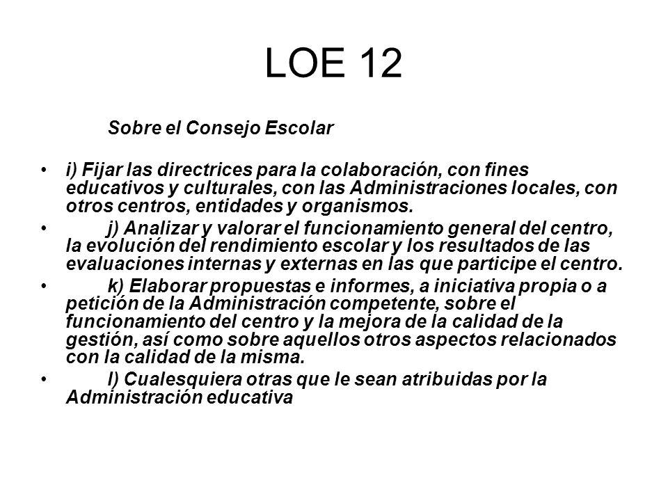 LOE 12 Sobre el Consejo Escolar