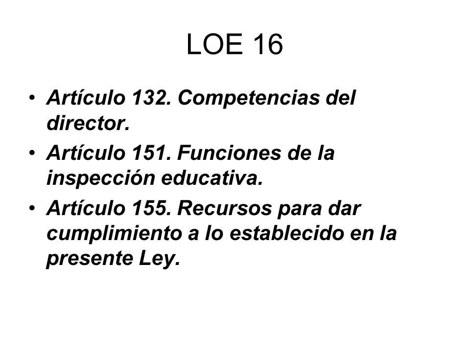 LOE 16 Artículo 132. Competencias del director.