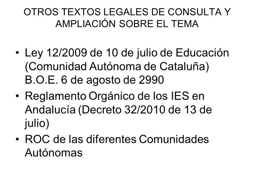 OTROS TEXTOS LEGALES DE CONSULTA Y AMPLIACIÓN SOBRE EL TEMA