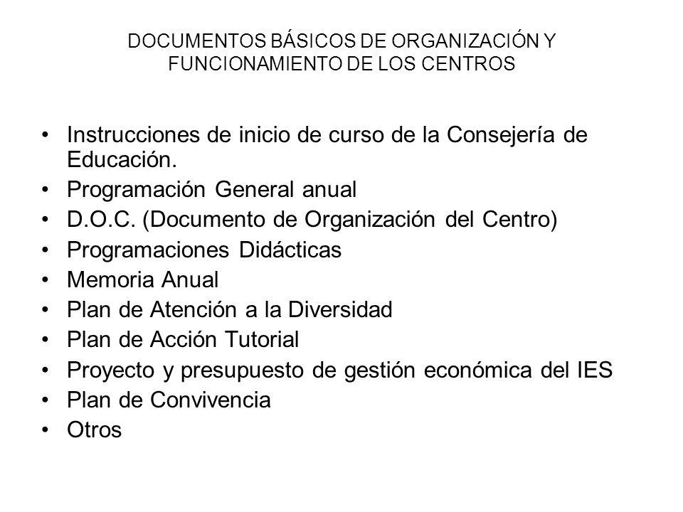DOCUMENTOS BÁSICOS DE ORGANIZACIÓN Y FUNCIONAMIENTO DE LOS CENTROS