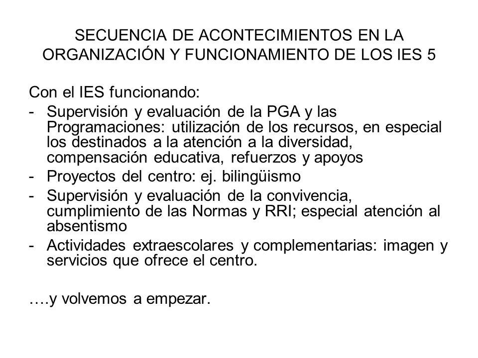 SECUENCIA DE ACONTECIMIENTOS EN LA ORGANIZACIÓN Y FUNCIONAMIENTO DE LOS IES 5