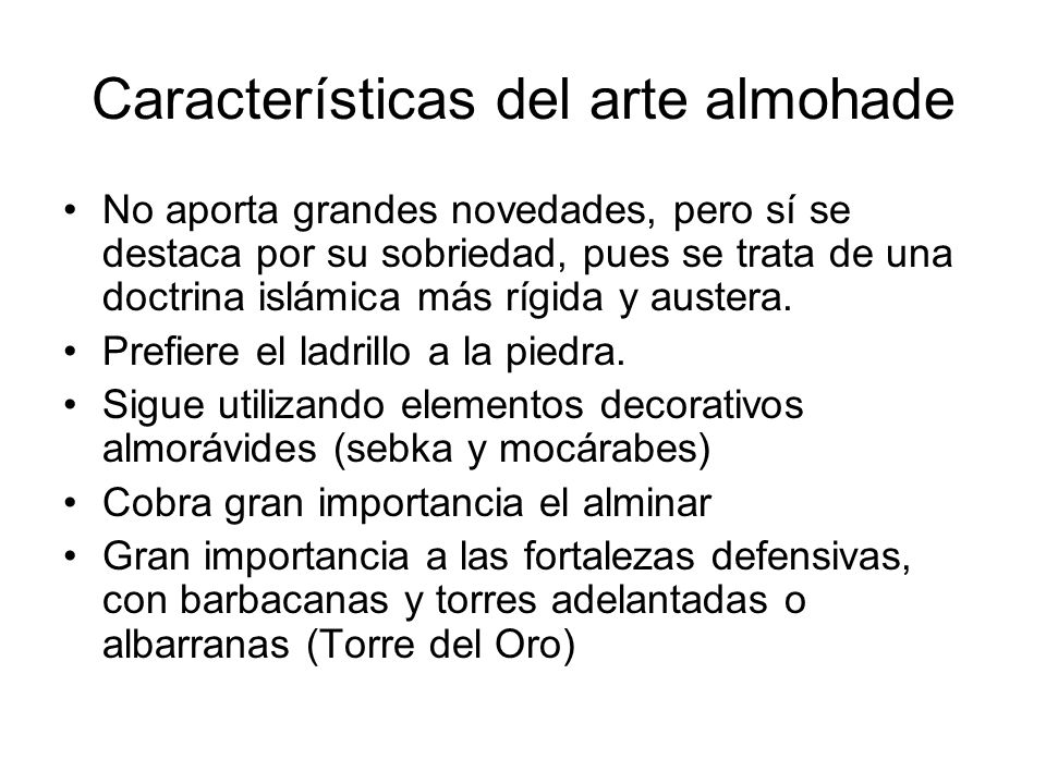 Características del arte almohade