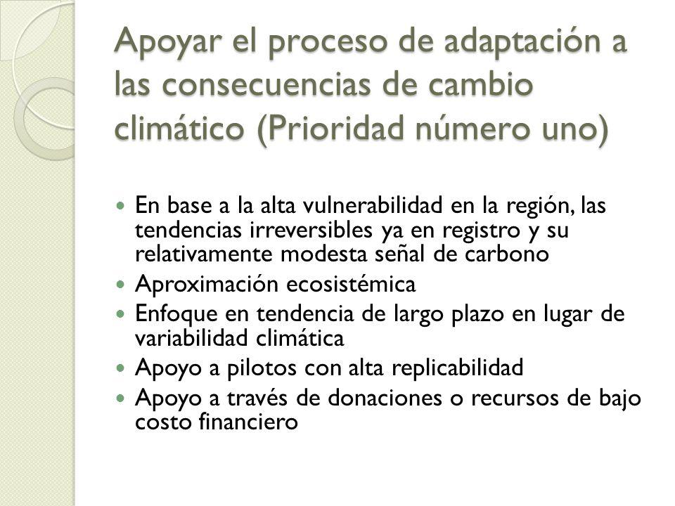 Apoyar el proceso de adaptación a las consecuencias de cambio climático (Prioridad número uno)