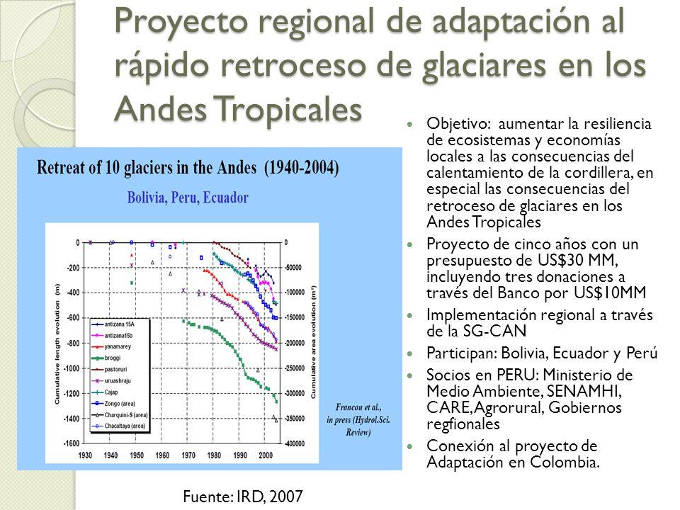 Proyecto regional de adaptación al rápido retroceso de glaciares en los Andes Tropicales