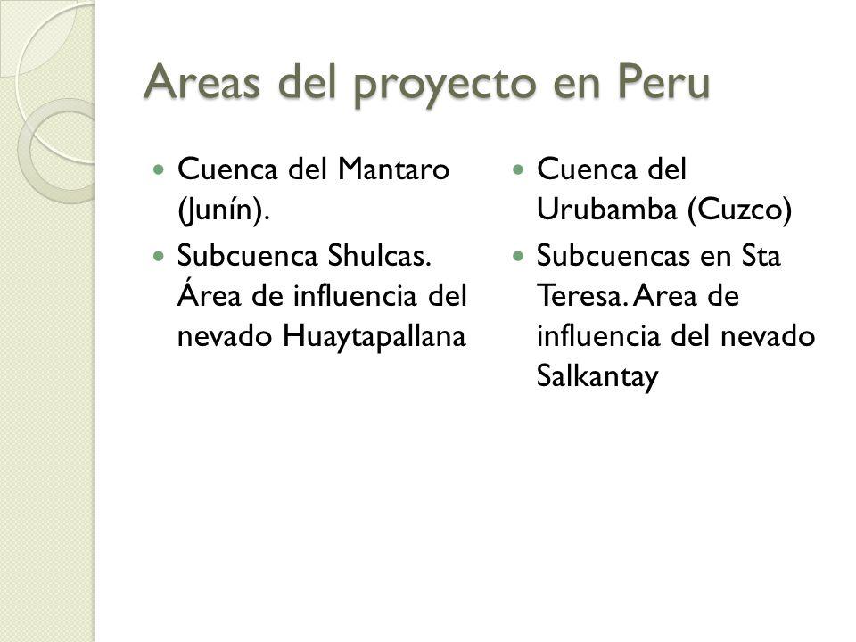 Areas del proyecto en Peru