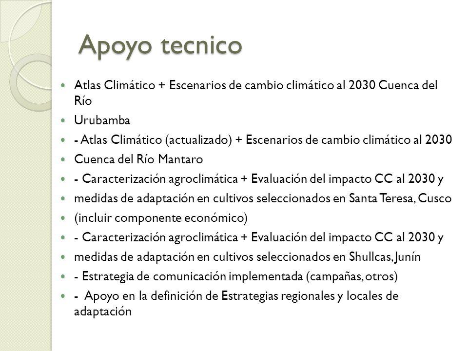 Apoyo tecnico Atlas Climático + Escenarios de cambio climático al 2030 Cuenca del Río. Urubamba.