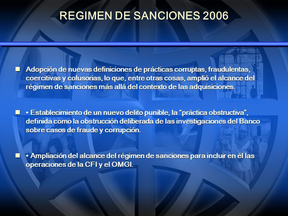 ANTES DEL 2006 (1) Antes de la reforma del régimen de sanciones, prácticas corruptas como las descritas a continuación escapaban a toda sanción: