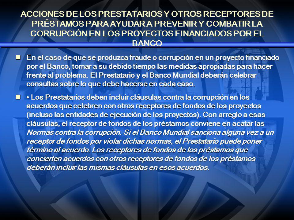 ACCIONES DEL BANCO MUNDIAL EN CASOS DE FRAUDE Y CORRUPCIÓN