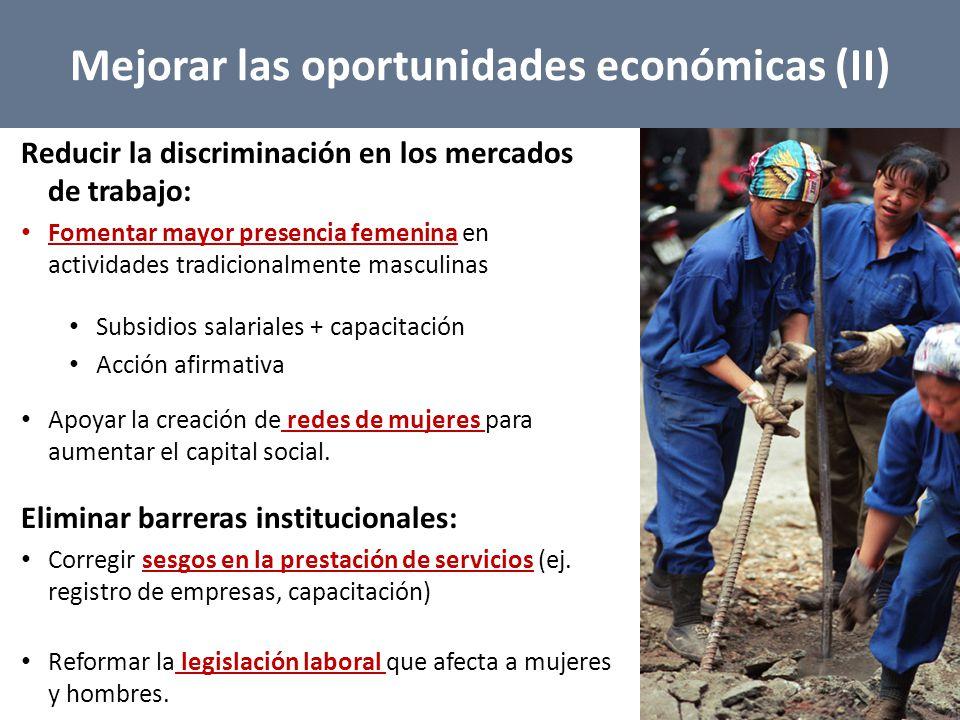 Mejorar las oportunidades económicas (II)