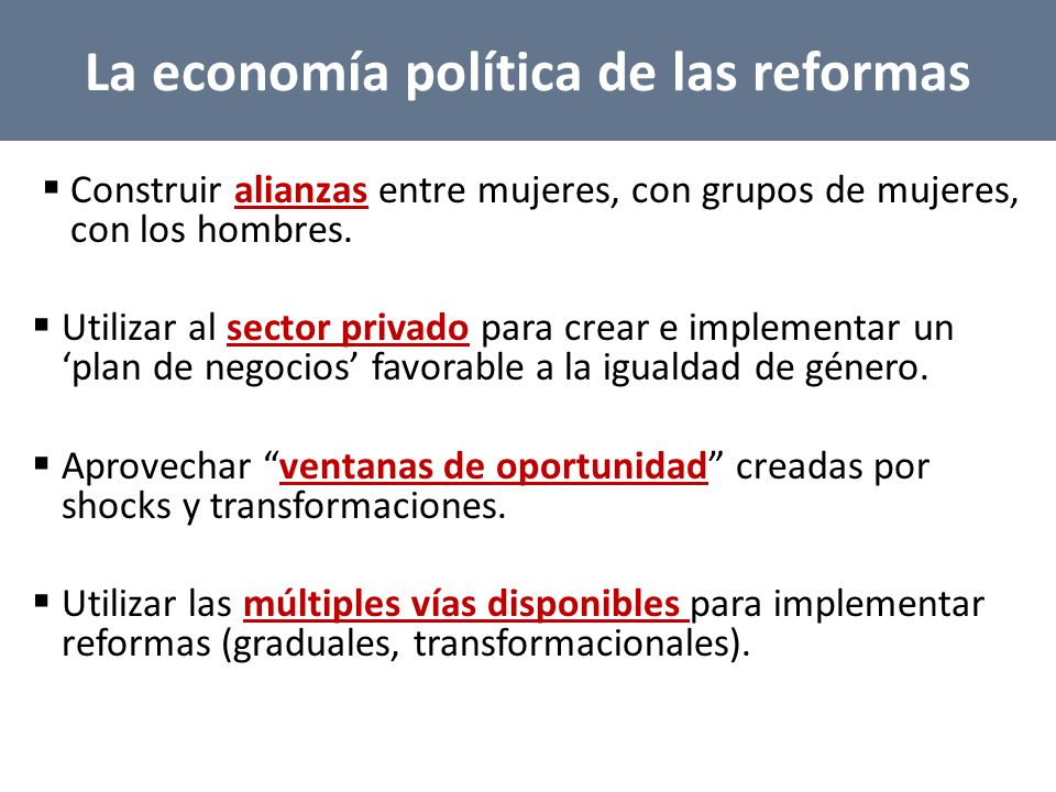 La economía política de las reformas