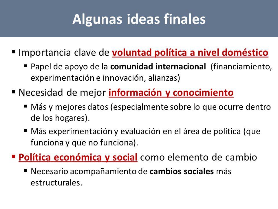 Algunas ideas finales Importancia clave de voluntad política a nivel doméstico.