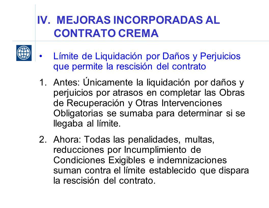 IV. MEJORAS INCORPORADAS AL CONTRATO CREMA
