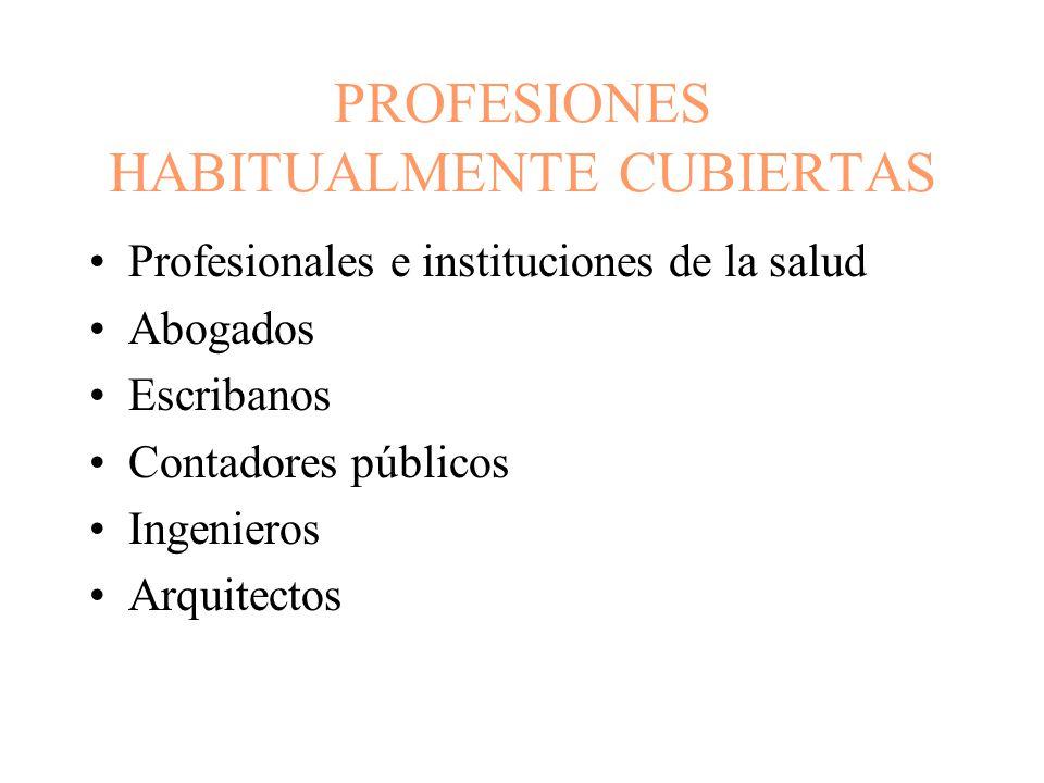 PROFESIONES HABITUALMENTE CUBIERTAS