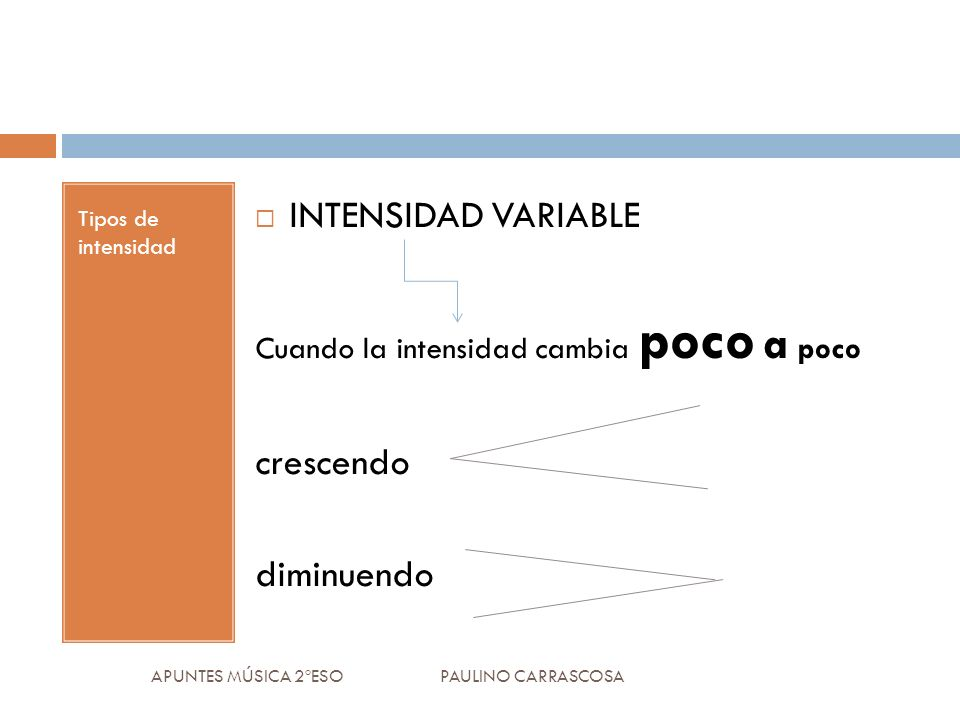 INTENSIDAD VARIABLE crescendo diminuendo