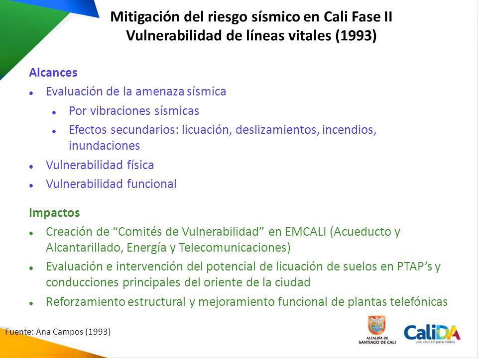 Mitigación del riesgo sísmico en Cali Fase II