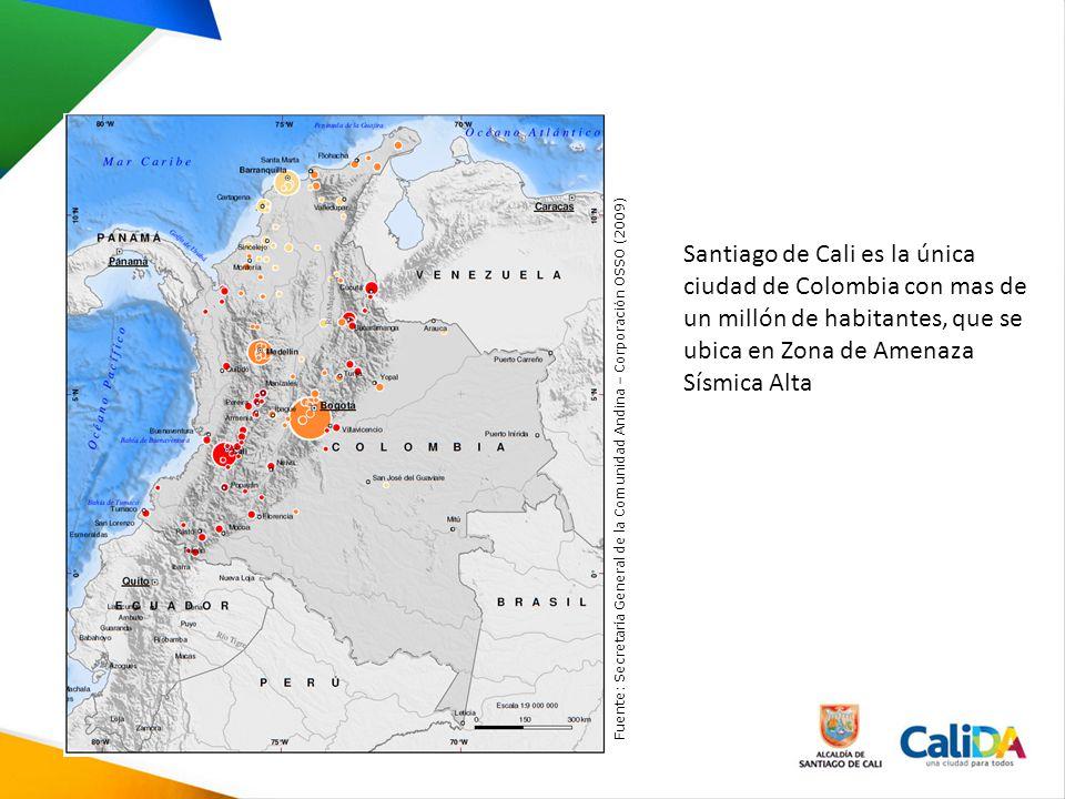 Santiago de Cali es la única ciudad de Colombia con mas de un millón de habitantes, que se ubica en Zona de Amenaza Sísmica Alta