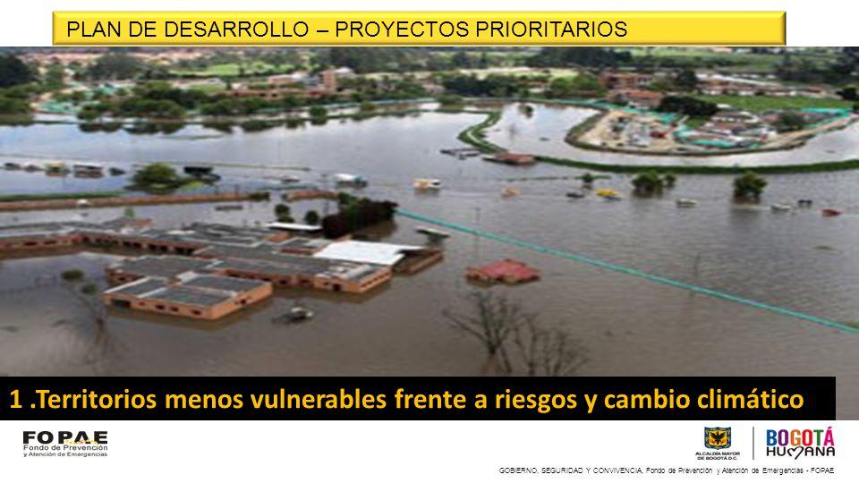 1 .Territorios menos vulnerables frente a riesgos y cambio climático