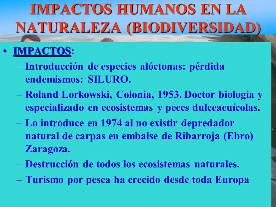 IMPACTOS HUMANOS EN LA NATURALEZA (BIODIVERSIDAD)