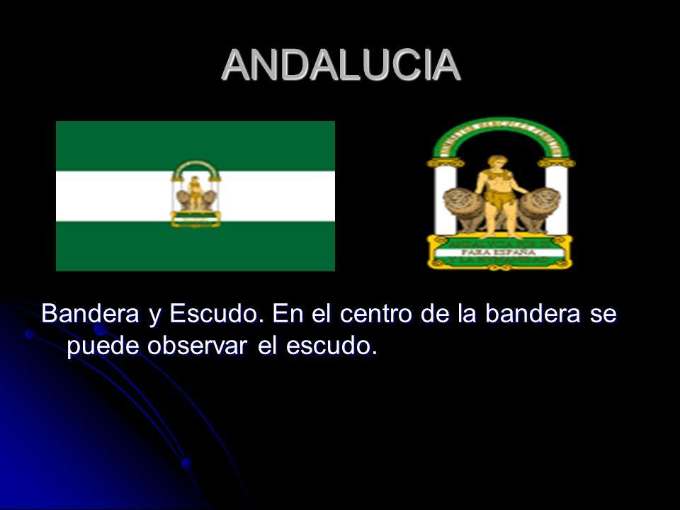 ANDALUCIA Bandera y Escudo. En el centro de la bandera se puede observar el escudo.
