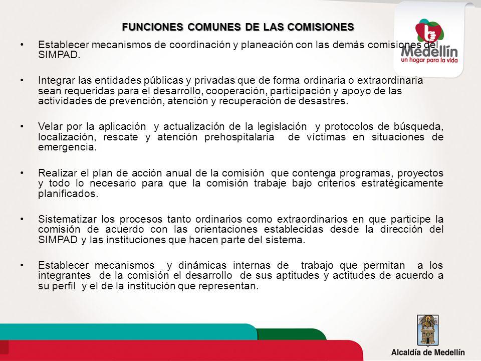 FUNCIONES COMUNES DE LAS COMISIONES