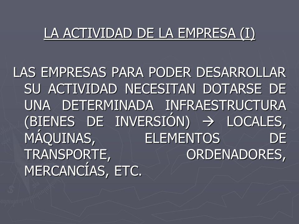LA ACTIVIDAD DE LA EMPRESA (I)