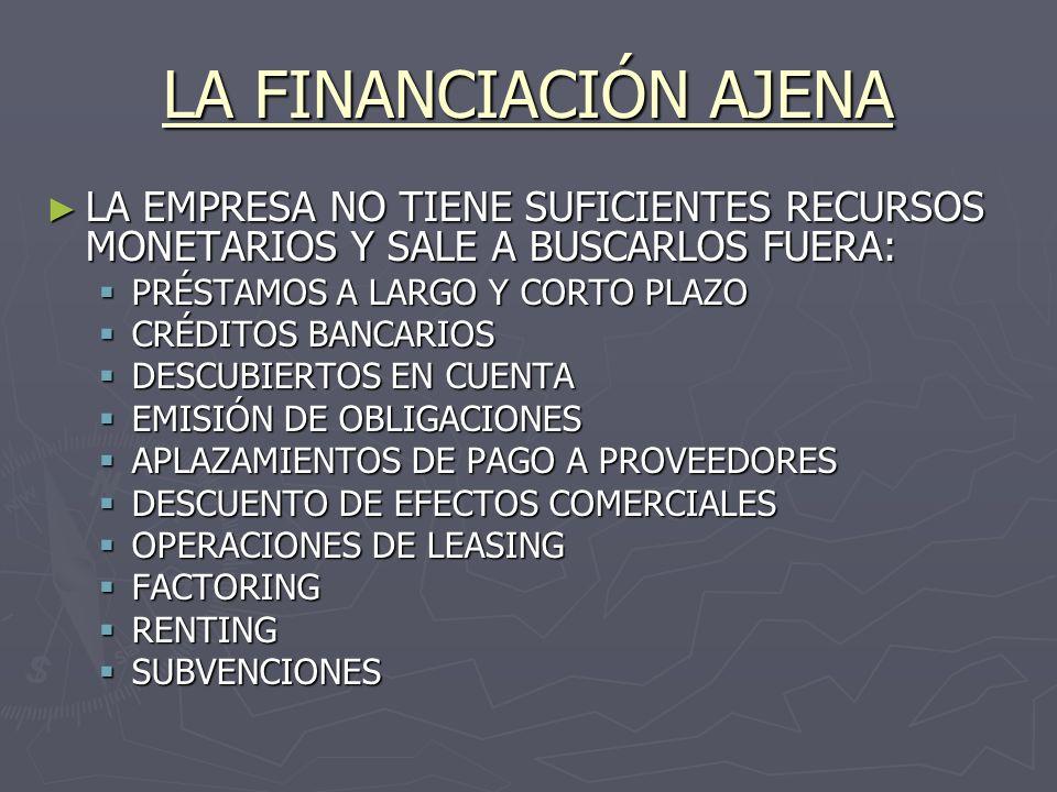 LA FINANCIACIÓN AJENA LA EMPRESA NO TIENE SUFICIENTES RECURSOS MONETARIOS Y SALE A BUSCARLOS FUERA:
