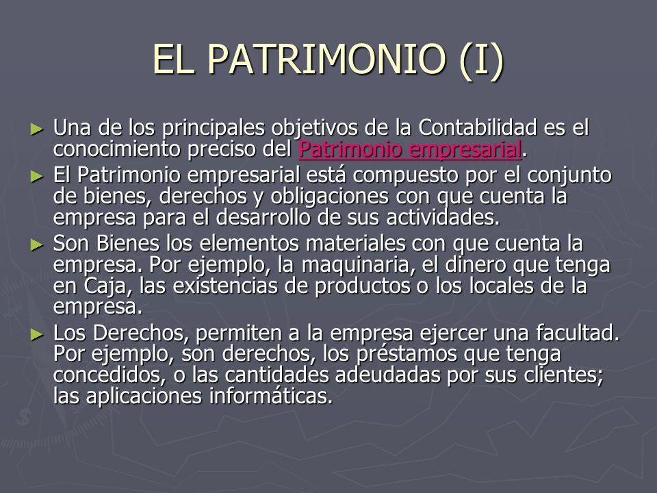 EL PATRIMONIO (I) Una de los principales objetivos de la Contabilidad es el conocimiento preciso del Patrimonio empresarial.
