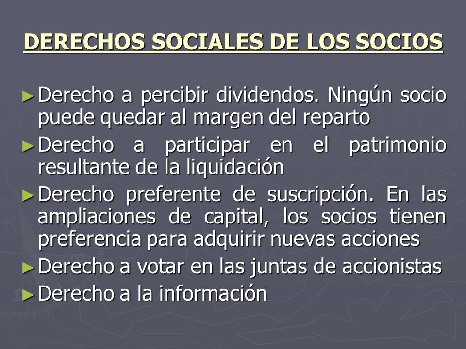 DERECHOS SOCIALES DE LOS SOCIOS