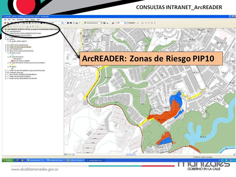 ArcREADER: Zonas de Riesgo PIP10