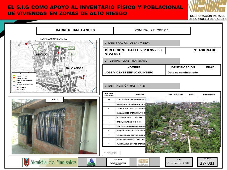 OFICINA MUNICIPAL PARA LA PREVENCION Y ATENCIÓN DE DESASTRES