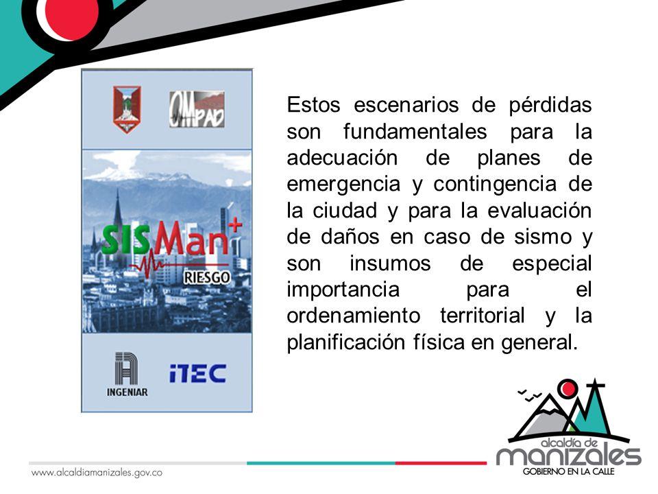 Estos escenarios de pérdidas son fundamentales para la adecuación de planes de emergencia y contingencia de la ciudad y para la evaluación de daños en caso de sismo y son insumos de especial importancia para el ordenamiento territorial y la planificación física en general.