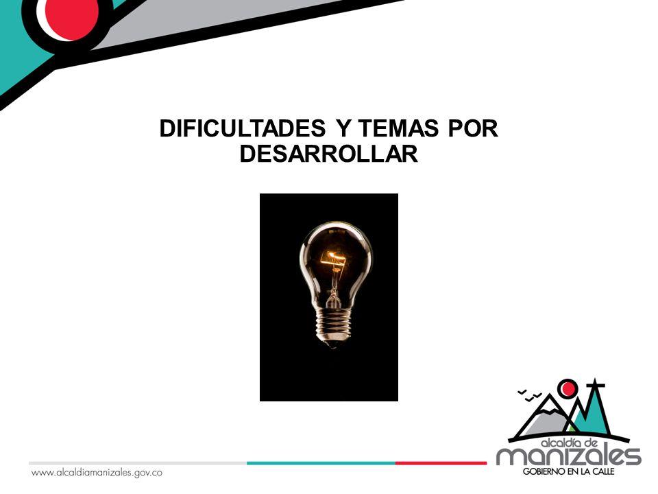 DIFICULTADES Y TEMAS POR DESARROLLAR