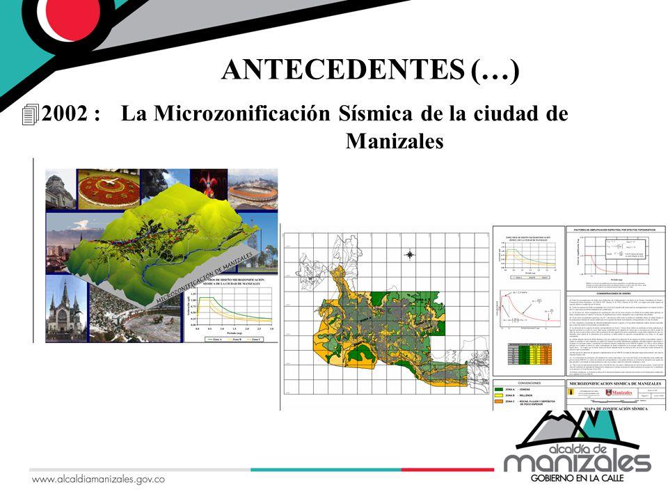 ANTECEDENTES (…) 2002 : La Microzonificación Sísmica de la ciudad de