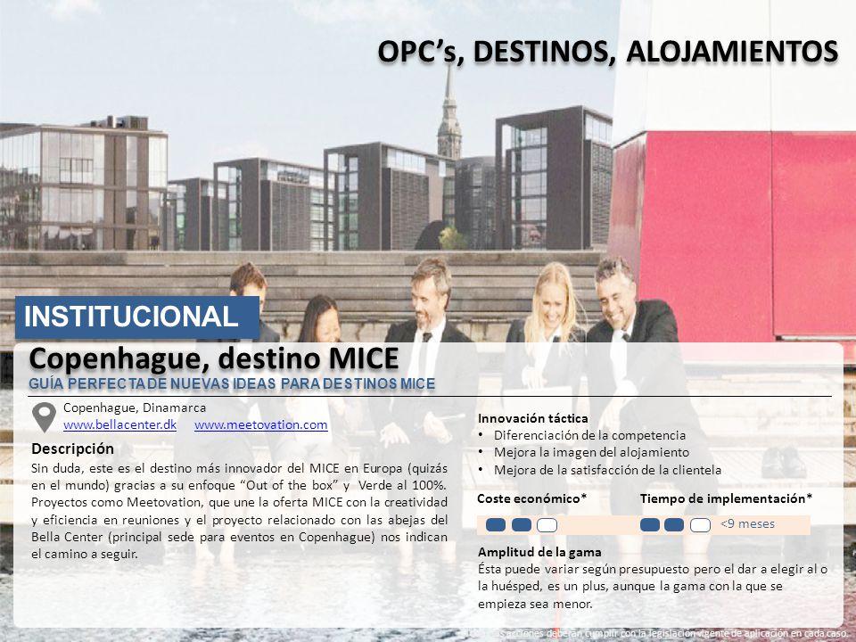 OPC's, DESTINOS, ALOJAMIENTOS