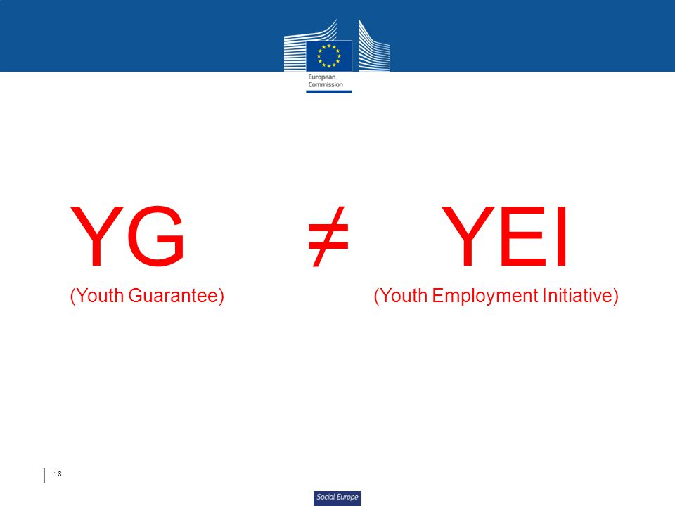 YG ≠ YEI (Youth Guarantee) (Youth Employment Initiative)