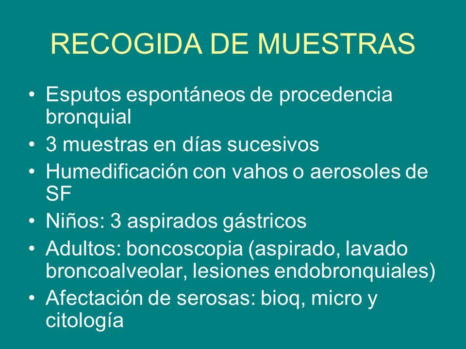 RECOGIDA DE MUESTRAS Esputos espontáneos de procedencia bronquial